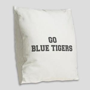 BLUE TIGERS-Fre gray Burlap Throw Pillow