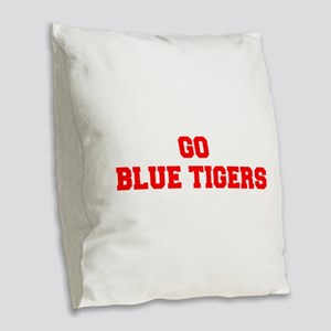 BLUE TIGERS-Fre red Burlap Throw Pillow