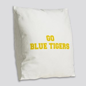 Blue Tigers-Fre yellow gold Burlap Throw Pillow