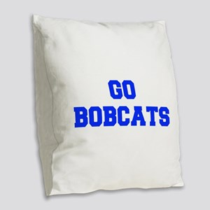 Bobcats-Fre blue Burlap Throw Pillow