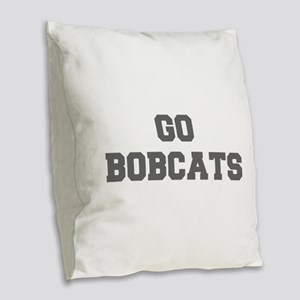 BOBCATS-Fre gray Burlap Throw Pillow