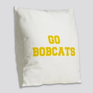Bobcats-Fre yellow gold Burlap Throw Pillow