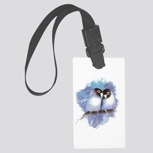 Cute Watercolor Lovebird Bird Large Luggage Tag