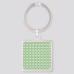 Green Ladybugs and Green Flowers Square Keychain