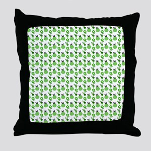 Green Ladybugs and Green Flowers Throw Pillow