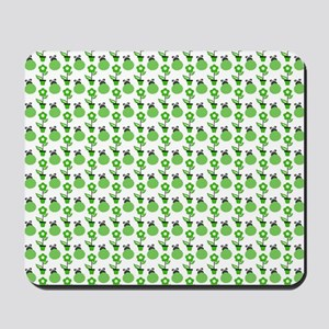 Green Ladybugs and Green Flowers Mousepad