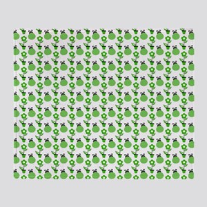 Green Ladybugs and Green Flowers Throw Blanket