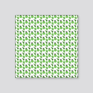 """Green Ladybugs and Green Fl Square Sticker 3"""" x 3"""""""