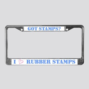 I (heart) Rubber Stamps License Plate Frame
