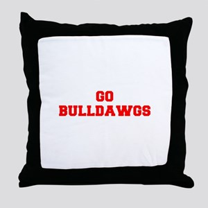 BULLDAWGS-Fre red Throw Pillow