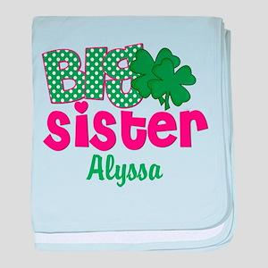 Big Sister Shamrock Personalized baby blanket