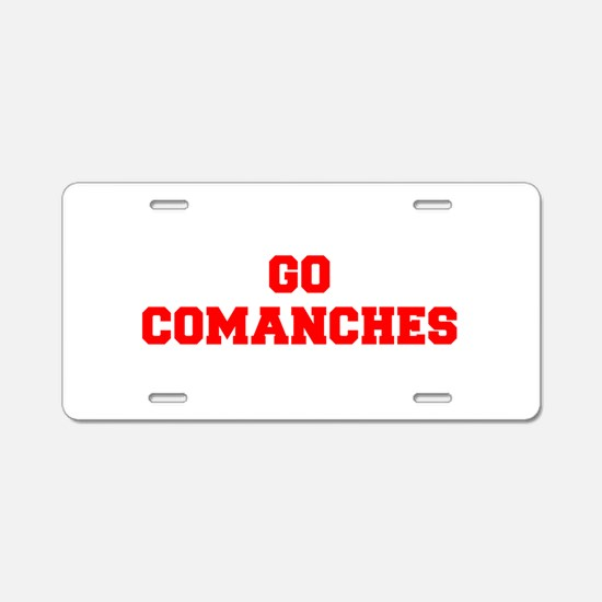 COMANCHES-Fre red Aluminum License Plate