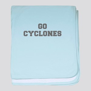 CYCLONES-Fre gray baby blanket