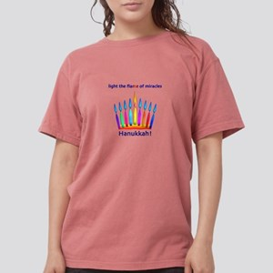 Womens NEON Hanukkah Menorah Flame T-Shirt