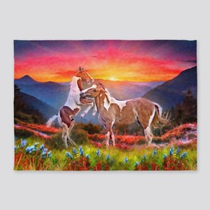 High Country Horses 5'x7'Area Rug