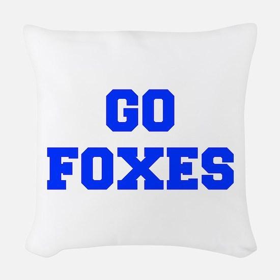 Foxes-Fre blue Woven Throw Pillow