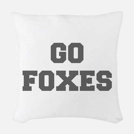 FOXES-Fre gray Woven Throw Pillow