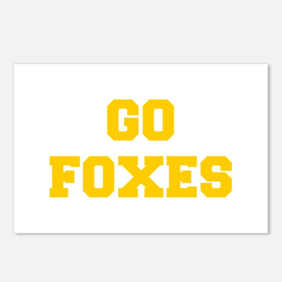 Foxes-Fre yellow gold Postcards (Package of 8)