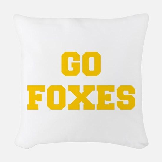 Foxes-Fre yellow gold Woven Throw Pillow
