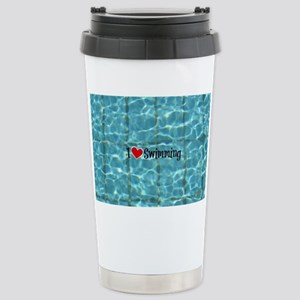 I Love Swimming  Stainless Steel Travel Mug