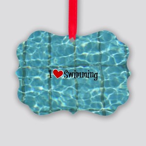 I Love Swimming  Picture Ornament