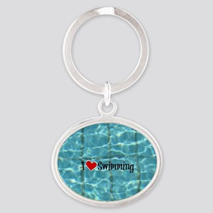 I Love Swimming  Oval Keychain