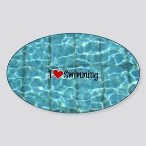 I Love Swimming  Sticker (Oval)