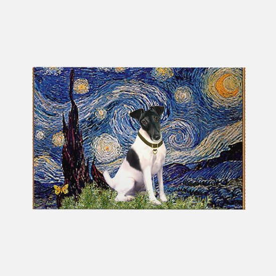 Starry Night & Smooth Fox Terrier Rectangle Magnet