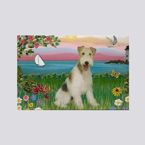 Lighthouse & Wire Fox Terrier Rectangle Magnet