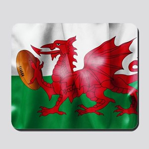 Welsh Dragon Rugby Ball Flag Mousepad