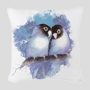 Cute Watercolor Lovebird Bird Nature Art Woven Thr