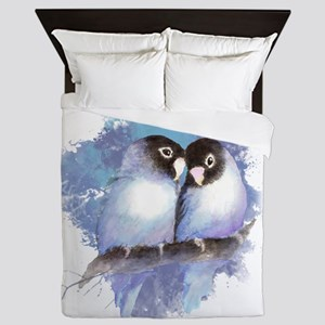 Cute Watercolor Lovebird Bird Nature Art Queen Duv