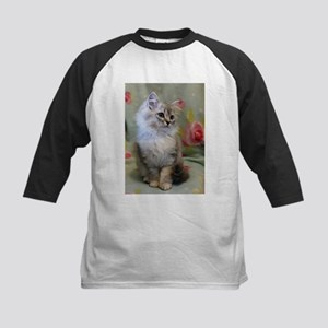 Silver Siberian Kitten sitting flo Baseball Jersey