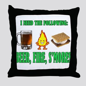 Beer Fire Smores Throw Pillow