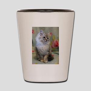 Silver Siberian Kitten sitting floral b Shot Glass
