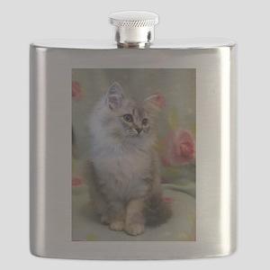Silver Siberian Kitten sitting floral blanke Flask