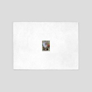 Silver Siberian Kitten sitting flor 5'x7'Area Rug