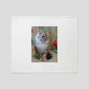 Silver Siberian Kitten sitting flora Throw Blanket