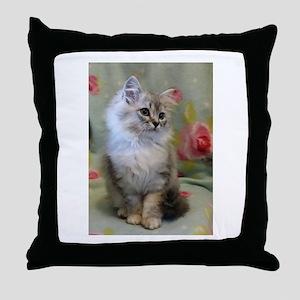 Silver Siberian Kitten sitting floral Throw Pillow