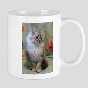 Silver Siberian Kitten sitting floral blanket Mugs