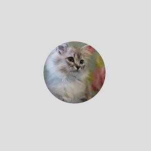 Silver Siberian Kitten sitting floral Mini Button
