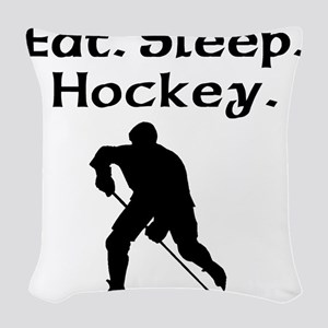 Eat Sleep Hockey Woven Throw Pillow
