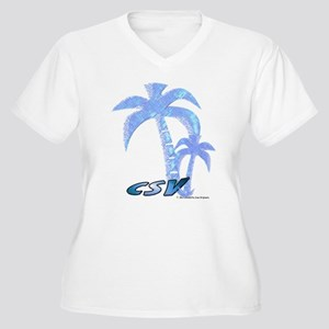 Blue Beach Palm Women's Plus Size V-Neck T-Shirt