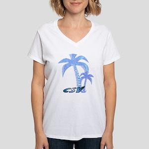 Blue Beach Palm Women's V-Neck T-Shirt