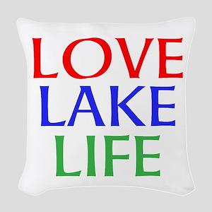 LOVE LAKE LIFE Woven Throw Pillow