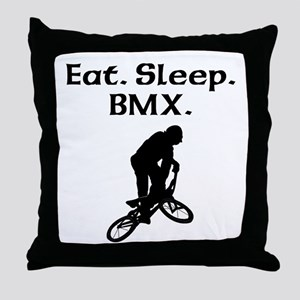 Eat Sleep BMX Throw Pillow