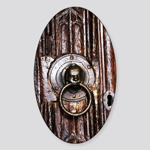 Old door knocker and keyhole Sticker (Oval)