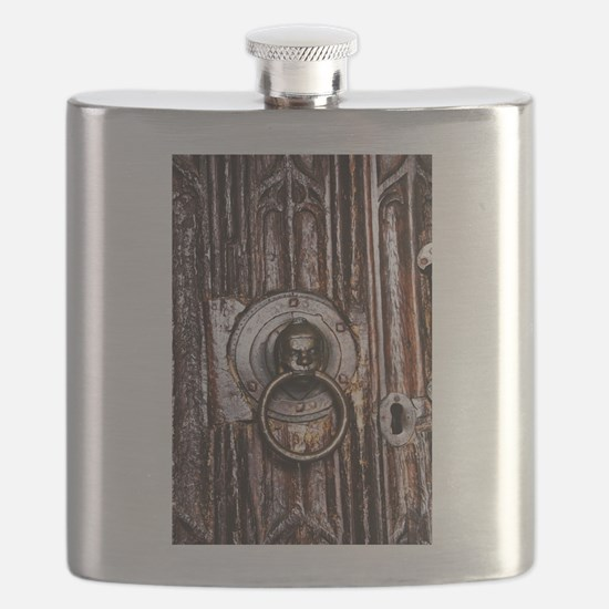 Old door knocker and keyhole Flask