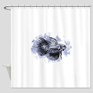 Blue Betta Fish Shower Curtain