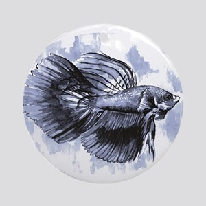 Blue Betta Fish Ornament (Round)